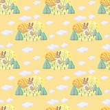 Baby colorful seamless pattern with the image of cute woodland animals and autumn trees. Vector background.