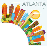 Atlanta Skyline with Color Buildings, Blue Sky and Copy Space.