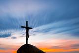 Jesus Christ on the cross over sunrise background - 172039111