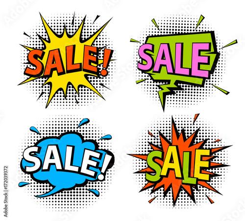 Fotobehang Pop Art comic book pop art style shopping sale speech bubbles on halftone texture