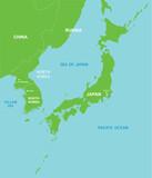 North korea and far east map - 172040383