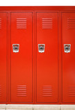 close up on red lockers in gym - 172042931