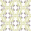 обои с растительным орнаментом, акварельные цветы и вензеля - 172045166