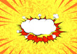 Pop art graphic explosion speed cloud bright retro background template
