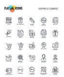 Flat line icons design - Shopping and E commerce - 172052958