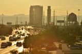 hot summer city traffic