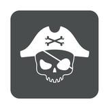 Icono plano calavera pirata en cuadrado gris - 172053721