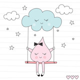 cute drop sitting on a swing vector illustration