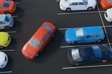 Car is parking in parking lot. 3D rendered illustration. View from top. - 172055529