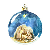 Watercolor Christmas ball. Holy family drawing in kids stile. Christmas decorations.