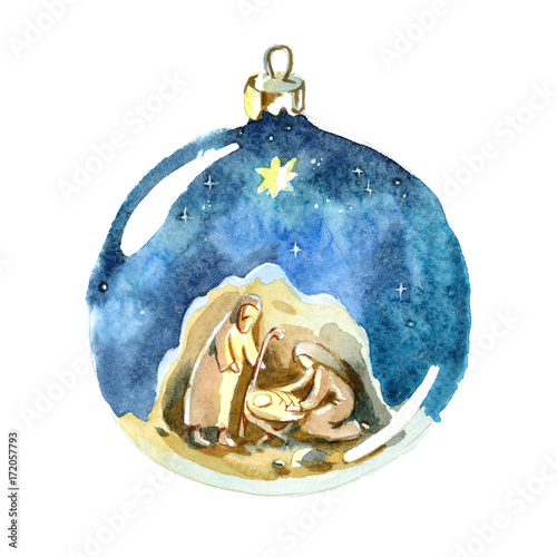 Leinwandbild Motiv Watercolor Christmas ball. Holy family drawing in kids stile. Christmas decorations.