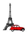 Eiffelturm mit rotem Auto