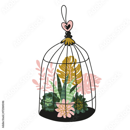 Hand drawn contained tropical house plants. Vector print design - bird's cage with tropical plants. - 172064346