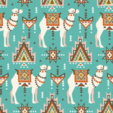 Vector seamless pattern with camels and ethnic motifs. Desert boho design for fabric design. - 172064765