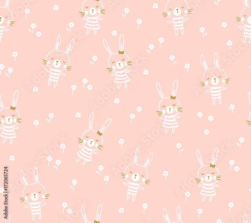 Cotton fabric Easter seamless pattern design with bunnies. Light baby print for child fabric or gift paper. Vector illustration.