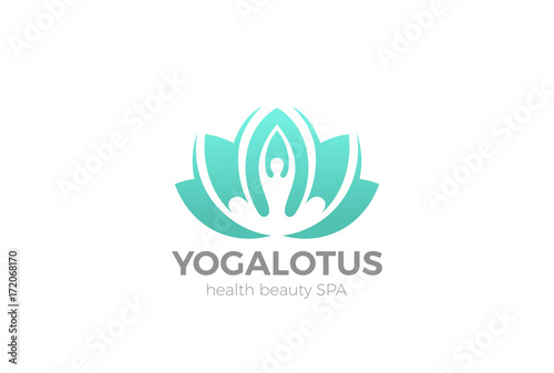 Poster Yoga Lotus pose flower Logo vector. Health Beauty SPA icon