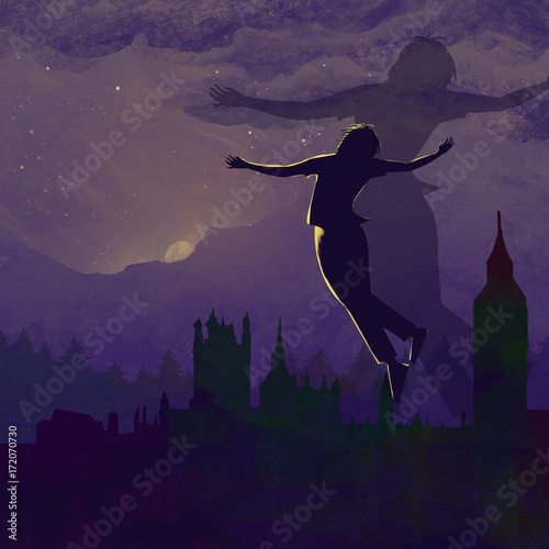 Fotobehang Aubergine Fly to My Vacant Peace. Video Game's Digital CG Artwork, Colorful Concept Illustration, Realistic Cartoon Style Background