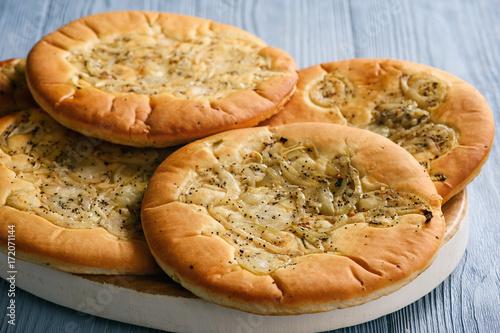 Foto op Plexiglas Klaprozen Traditional polish bread with onion known as cebularz.