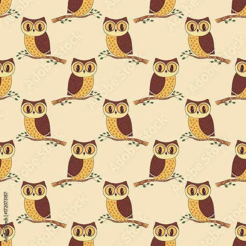 Foto op Plexiglas Uilen cartoon Seamless pattern with hand drawn owls.