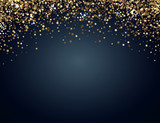 Festive horizontal Christmas and New Year background with gold glitter of stars. Vector illustration. - 172078195