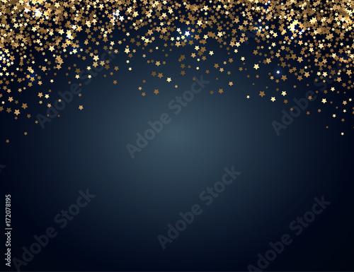 Świąteczne poziome tła Boże Narodzenie i Nowy Rok ze złotym blaskiem gwiazd. Ilustracji wektorowych.