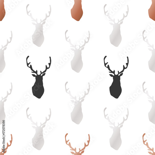 White Christmas and New Year's wrapping paper with deers of gold and bronze foil. Seamless vector pattern. - 172078386