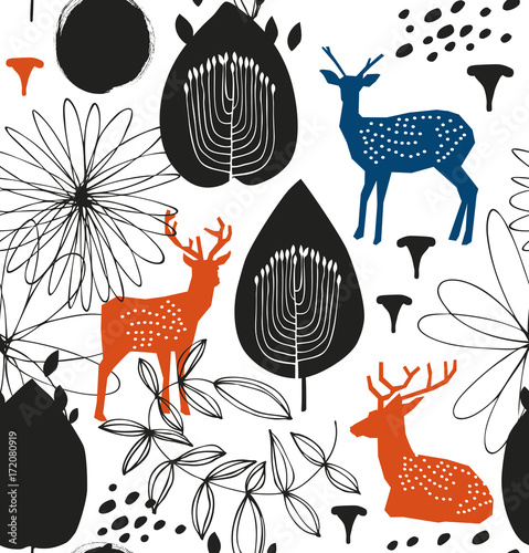 Cotton fabric Seamless nature pattern with deers. Forest silhouette background. Vector texture