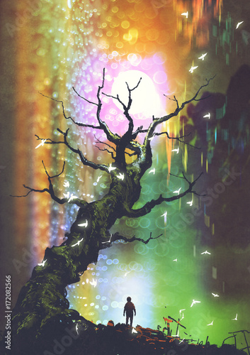 fantasy scenery of the boy standing under the bare tree with light ball above, digital art style, illustration painting
