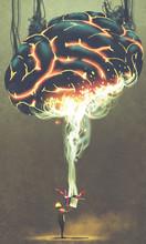 "Постер, картина, фотообои ""the boy opening a magic box with glowing huge brain from inside, digital art style, illustration painting"""