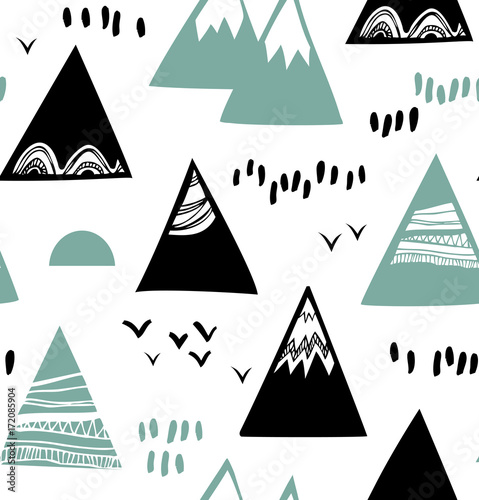 Seamless graphic pattern with mountains, rocks in scandinavian style. Decorative background with landscap - 172085904