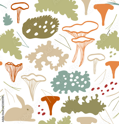 Tuinposter Abstract bloemen Seamless nordic floral pattern with chanterelle mushrooms, reindeer moss, gray lichens, needles. Nature light background texture