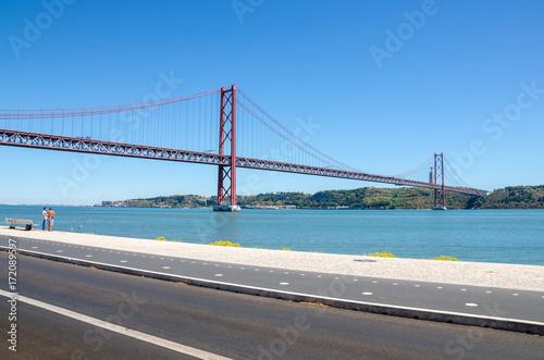 Poster 25 de Abril bridge, Tage river, Cristo Rei, Lisbon, Portugal