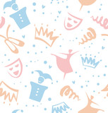 Seamless childish pattern with decorative elements of theater, ballet, fairy-tale. Baby cute background
