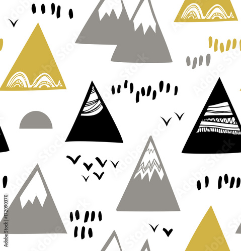 Seamless pattern with mountains, rocks in scandinavian style. Decorative background with landscape - 172090370