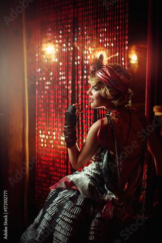 Retro Portrait Of A Beautiful Gatsby Woman Vogue Fashion Style And