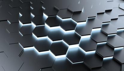 Hexagone mit Licht als Hintergrund Struktur © Robert Kneschke
