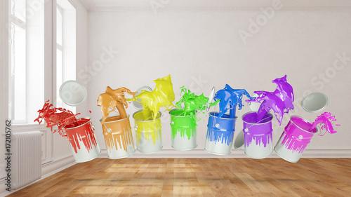 Bunte Farben bei Renovierung im Raum