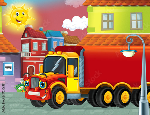 cartoon happy cargo truck with trailer driving through the city - 172106591