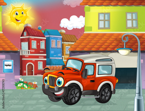 happy and funny cartoon fireman truck smiling and driving through the city or standing near the garage- illustration for children - 172108743