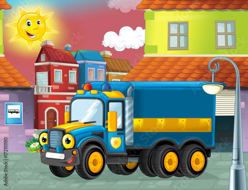 happy and funny cartoon police truck looking and smiling driving through the city or parking near the garage - illustration for children - 172110180