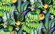 Cotton fabric Tropical  Seamless watercolor pattern
