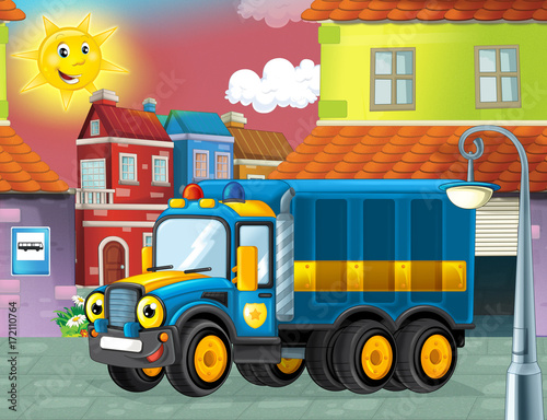 happy and funny cartoon police truck looking and smiling driving through the city or parking near the garage - illustration for children - 172110764