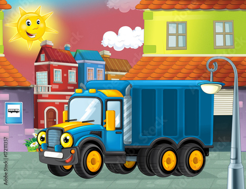 happy and funny cartoon police truck looking and smiling driving through the city or parking near the garage - illustration for children - 172111357