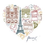 The sketches about France and Paris in the shape of a heart