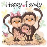 Family of Three Cute Monkeys