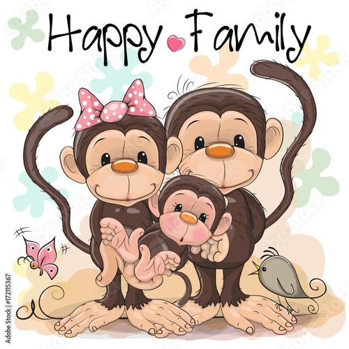 Fridge magnet Family of Three Cute Monkeys