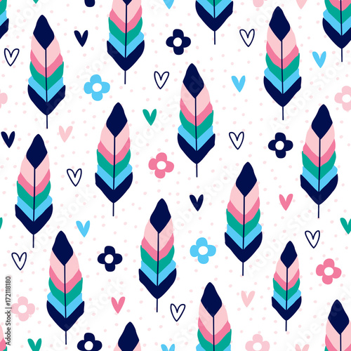 seamless feathers and flowers pattern vector illustration - 172118180
