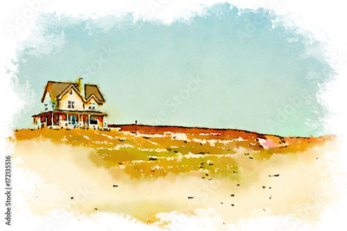 Sticker Watercolor of a house