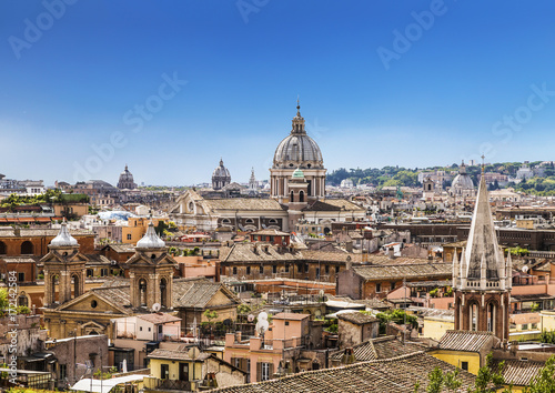 The domes and rooftops of the eternal city, the view from the Spanish steps Poster