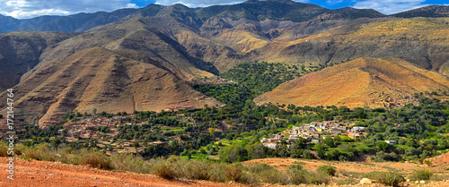 Fotobehang Marokko three villages located in a mountain valley in the high Atlas Mountains, Morocco